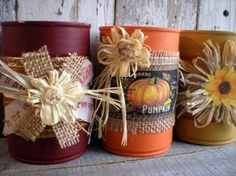 Halloween and Fall Tin Can Upcycles for Kids and Adults - Easy Cheap Diy Crafts Tin Can Crafts, Jar Crafts, Decor Crafts, Aluminum Can Crafts, Fall Crafts For Adults, Crafts For Seniors, Thanksgiving Crafts, Holiday Crafts, Painted Tin Cans