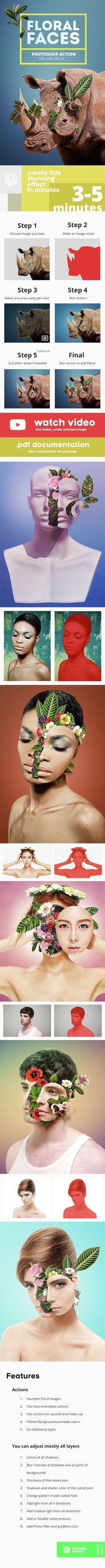 Floral Faces - Photoshop Action #photoeffect Download: http://graphicriver.net/item/floral-faces-photoshop-action/14523331?ref=ksioks