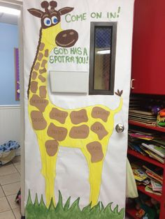 Welcome back to school. The giraffe has a spot for you. (Tawn and Lindsey's Class)