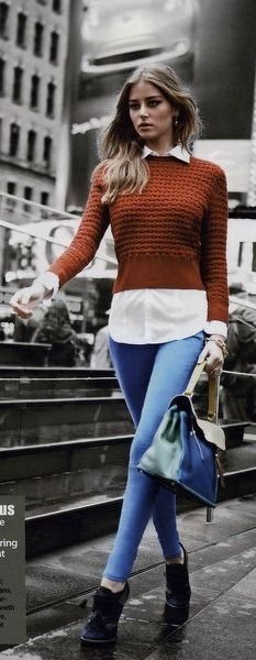 Short sweater with long blouse, rust sweater, skinny jeans