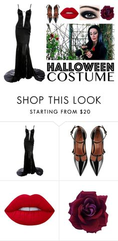 """MorticiaAddams"" by elleci88 ❤ liked on Polyvore featuring Dolce&Gabbana, RED Valentino, Lime Crime, halloweencostume and DIYHalloween"
