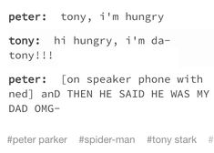 Tony and Peter Parker Funny Marvel Memes, Marvel Jokes, Dc Memes, Avengers Memes, Marvel Dc Comics, Marvel Avengers, Marvel Heroes, Fangirl, Superfamily