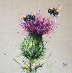 Georgina McMaster - Drouthy Neebors II - art worlds Watercolor Flowers, Watercolor Paintings, Lemon Flowers, Iris Flowers, Beaded Flowers, Bee Painting, Thistle Flower, Bee Art, All Nature