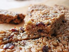 Almond Berry Bars - granola, puffed brown rice, almond butter, brown rice syrup, dried berries, seeds (vegan, GF)