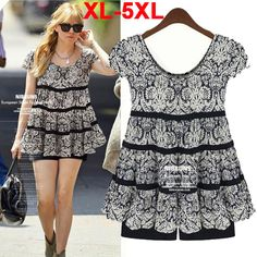 XXXXXL Large Size Fat Women Clothing 2014 New Summer in Europe and America Floral Chiffon Shirt Dress Fashion Blouses 5XL TS010