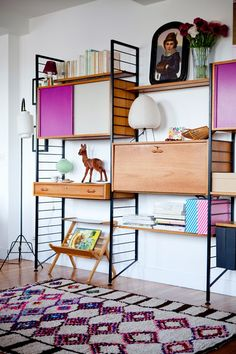 Shelving Pink Colorful Shelving / Vogue Home Home And Living, Interior Design, House Interior, Furniture, Home, Interior, Home Deco, Vogue Home, Home Decor
