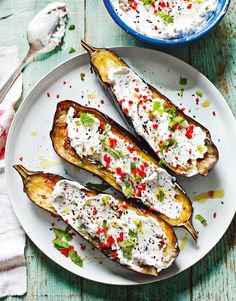 Roasted Aubergines with Fennel and Labneh from Shelina Permallo's The Sunshine Diet cookbook. Labneh is a wonderful Middle Eastern strained yoghurt that is really easy to make and is a healthier alternative to soured cream or cream cheese. http://thehappyfoodie.co.uk/recipes/roasted-aubergines-with-fennel-and-labneh