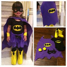 DIY batgirl costume. My daughter already had the black leotard, tights and tutu. I made her cape, mask, cuffs, logo and boot cover with felt material from my local fabric store Joanne's.