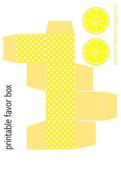 Free printable polka dot favor box with lemon tags - ausdruckbare DIY Box - freebie   MeinLilaPark – DIY printables and downloads
