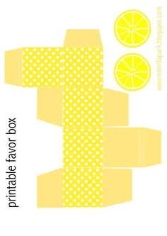 Free printable polka dot favor box with lemon tags - ausdruckbare DIY Box - freebie | MeinLilaPark – DIY printables and downloads