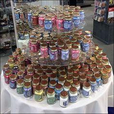 Mini-Mason-Jar Candle Draped Table Display – Fixtures Close Up Mini Mason Jars, Mason Jar Candles, Soy Candles, Retail Fixtures, Store Fixtures, Candle Store, Circular Table, Merchandising Displays, Organizing Ideas