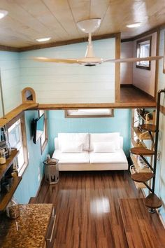 """""""Big Whimsy"""" Tiny House on Wheels by Wind River Tiny Homes Design Interior Small House Off Grid Tiny House, Tiny House Loft, Best Tiny House, Tiny House Living, Tiny House Plans, Tiny House On Wheels, Living Room, Tiny House Stairs, Kitchen Living"""