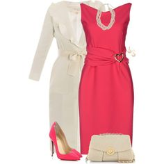 A fashion look from February 2015 featuring red jersey dress, giambattista valli coat and neon pointy toe pumps. Browse and shop related looks.