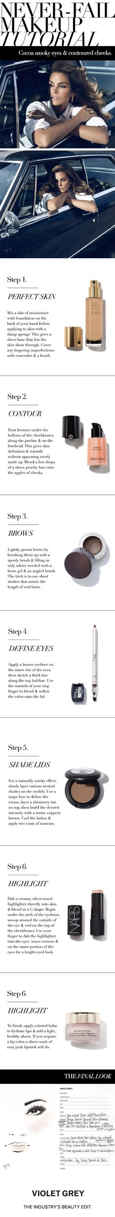The Never-Fail Makeup Tutorial | Makeup artist Dotti's guide to Cindy Crawford's cocoa smoky eyes and contoured cheeks. | #VioletGrey, the Industry's Beauty Edit
