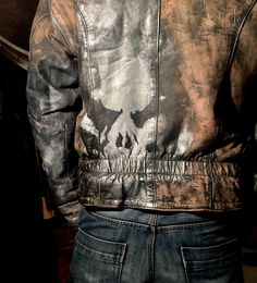 Punisher Leather jacket hand painted for Men size L distressed Hand painted motto style fashion