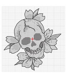 Ed Hardy blooming skull tattoo cross-stitch pattern. Free tutorial with pictures on how to make a patterns in under 120 minutes by cross stitching with embroidery thread and embroidery needle. How To posted by Ed Hardy. Cross Stitching, Cross Stitch Embroidery, Embroidery Patterns, Crochet Skull, Crochet Cross, Cross Stitch Designs, Cross Stitch Patterns, Diy Bordados, Cross Stitch Skull