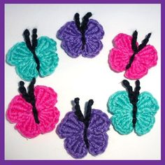 6 Crochet applique butterflies,. £3.00