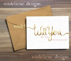 Will You Be My Bridesmaid Set of 5  Gold Hand by MadelieneDesigns