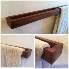 Badezimmer Handtuchhalter Modern walnut towel rack This unique towel rack is a must for your bathroom. -Measures: 34 x 2 x / 4 -mounting, screws and dowels included -Installed: Keys hold fasteners If you would be interested in a different size or wood Modern Towel Bars, Diy Casa, Towel Rack Bathroom, Bathroom Storage, Kitchen Towel Rack, Bathroom Organization, Wooden Cabinets, Home Projects, Diy Home Decor