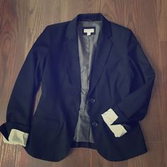 Business blazer I have never worn this piece, however, I did remove the tags and only tried on numerous times. my frame is too small and it just doesn't look right on me. It is made with blue and white pinstripes if you wanna fold the cuffs for extra flare. all buttons in tact with a silky dark grey on the inside. Merona Jackets & Coats Blazers