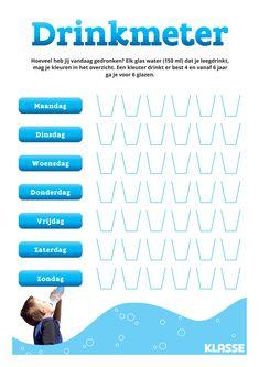Leer je kind voldoende water drinken. Lukt het om elke dag zes glaasjes te drinken? Educational Activities, Activities For Kids, Parenting Done Right, Childhood Obesity, School Posters, Too Cool For School, Vand, Kids Education, Healthy Kids