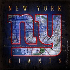 New York Giants City Map - Perfect Christmas, Birthday, Anniversary Gift - Unframed Print New York Teams, New York Giants Football, Football Art, Ny Yankees, Eli Manning Super Bowl, Best Man Caves, New York Giants Logo, Giants Players, Go Big Blue