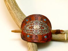 Leather Barrette embellished with silver by OliRoseCollection, $30.00
