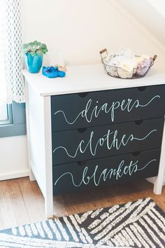 changing table diy with chalkboard paint and calligraphy. gorgeous black and white nursery inspiration. White Nursery, Nursery Neutral, Nursery Room, Girl Nursery, Girl Room, Kids Bedroom, Nursery Decor, Nursery Dresser, Neutral Nurseries