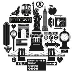New York City icons Royalty Free Stock Vector Art Illustration