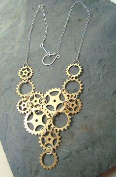 Brass Steampunk Necklace Statement Jewelry Modern Bib