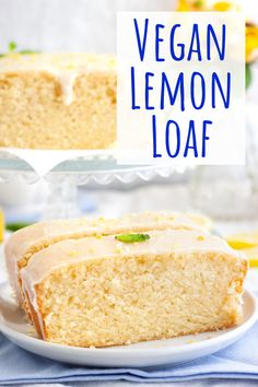 This easy vegan lemon loaf cake is super moist and topped with a lemon icing. The best lemon cake recipe that's free of dairy and eggs! Best Lemon Cake Recipe, Vegan Lemon Cake, Lemon Bread, Loaf Recipes, Vegan Dessert Recipes, Vegan Sweets, Cake Recipes, Vegetarian Recipes, Vegan Loaf