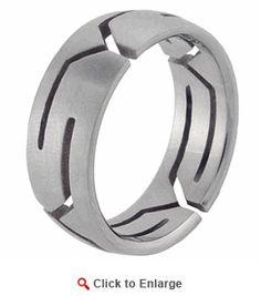 Stainless Steel Laser-cut Men's Pattern Ring