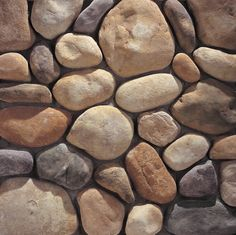 Eldorado Stone - River Rock - using the color palet in Colorado Stone Rock Veneer, River Rock Stone, River Rocks, River Rock Fireplaces, Eldorado Stone, Manufactured Stone Veneer, Rock Wall, Colorado River, Landscaping With Rocks