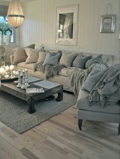 Grey and blue living room - like the color combo and the softness... Possibly
