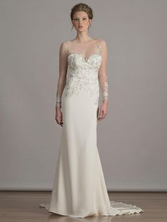 Liancarlo rose embroidered tulle bodice and illusion long sleeve on silk crepe sheath wedding dress from Spring 2016