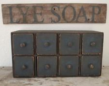 Primitive Antique Early Old Calico blue Apothecary chest of drawers cupboard