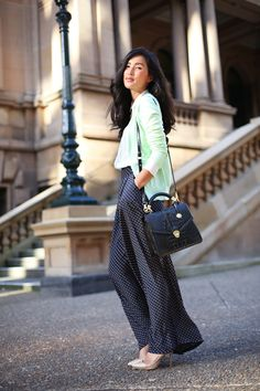 Mint sweater with polka dotted palazzo pants