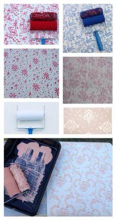 paint on walls, paper, fabric, wood and more or use with clay! Patterned Paint Roller Collection of 4 Floral patterned rollers by #NotWallpaper #patternedpaintroller #Etsy #DIY #wallpaper