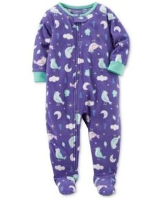 Carter's 1-Pc. Bird-Print Footed Fleece Pajamas, Baby Girls (0-24 months) - Purple 12 months