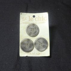 Vintage Le Chic Sew Through Buttons in Gray by VictorianWardrobe, $4.00