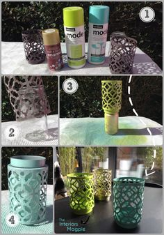 Take a couple of €2 Tea-light holders, add a few coats of high gloss spray paint & voila!