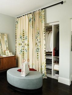 curtain for closet door. My daughter has a ridiculously long closet. I'm in the process of splitting it in two - one side as a desk and the other as her closet. I want to remove all closet doors and use the curtain on the closet side.