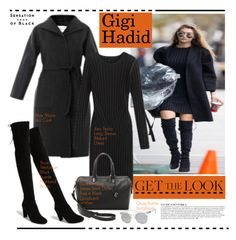 """Get The Look: Gigi Hadid"" by hamaly ❤ liked on Polyvore featuring MaxMara, Ann Taylor, Stuart Weitzman, Elizabeth and James, Anja, Vision, GetTheLook, StreetStyle, allblack and waystowear"