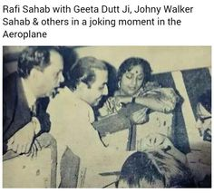 Rafi Saab with Johnny Walker and Geeta Dutt . Bollywood Couples, Bollywood Cinema, South Actress, Old Actress, Johny Walker, Film Tips, Legendary Singers, Vintage Vignettes, Indian Music