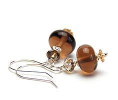 Smoky Brown Glass Earrings  Handmade Czech Lampwork by lilicharms, $20.00
