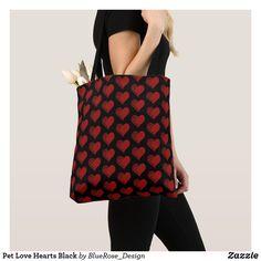 Pet Love Hearts Black Tote Bag Tartan Pattern, Tote Pattern, Red Tote Bag, Crossbody Bag, Cross Patterns, Red Cross, Christmas Card Holders, Love Heart, Pink