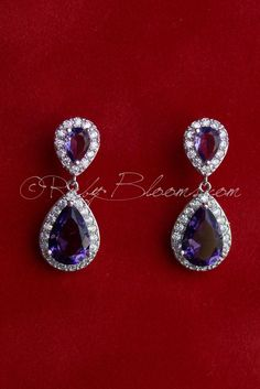 Ruby Blooms is pleased to offer you Timeless, Luxury and Feminine Style - Crystal Cubic Zirconia wedding / bridal earrings. Charming, elegant sparkling jewelry accessory for your Silver Purple theme W