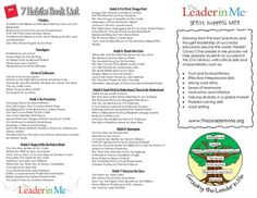 A great little handout for parents! Overview of Leader In Me and the 7 habits along with a comprehensive reading book list to help discuss the habits at home!Fabulous resource!