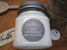 Pure Soy Candle Coconut Mason Jar Home Fragrance by JuneApothecary on Etsy