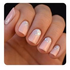 Natural blush nails with sparkle~